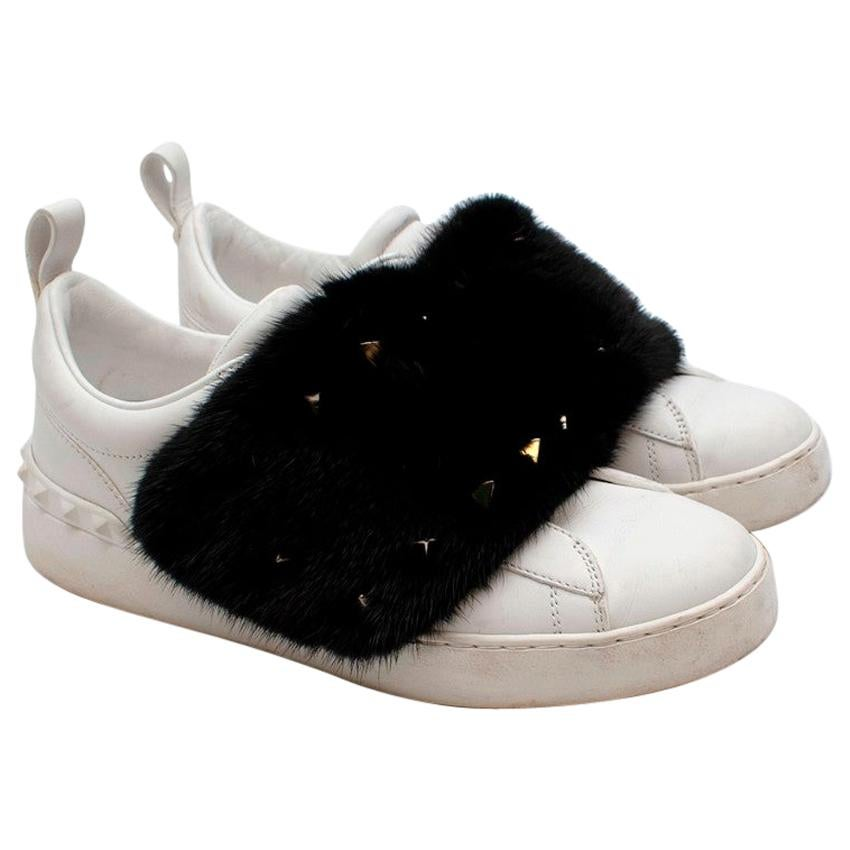 Valentino Mink-fur Rockstud low-top leather trainers - Size EU 38