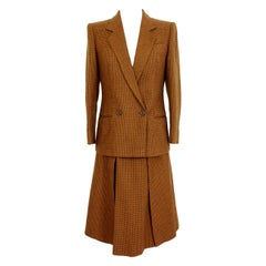 Valentino Miss V Beige Brown Wool Check Double Breasted Jacket Skirt Suit
