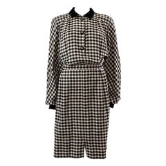 VALENTINO MISS V black & white Gingham wool Long Sleeve Dress 46 VINTAGE 1990s