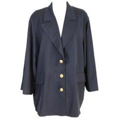 Valentino Miss V Blue Wool Oversize Long Jacket