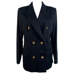 Valentino Miss V Vintage Black Cashmere Double Breasted Blazer Size 44