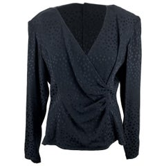 Valentino Miss V Vintage Black Silky Long Sleeve Blouse Size 46 IT