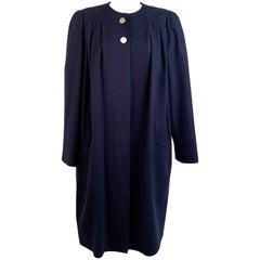 Valentino Miss V Vintage Blue Wool Coat Dustcoat Size 44