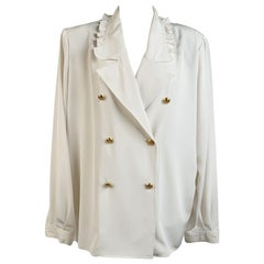 Valentino Miss V Vintage White Double Breasted Shirt Size 48