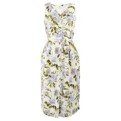 Valentino Miss V Vintage White & Lilac Floral Print Linen Dress, 1980s