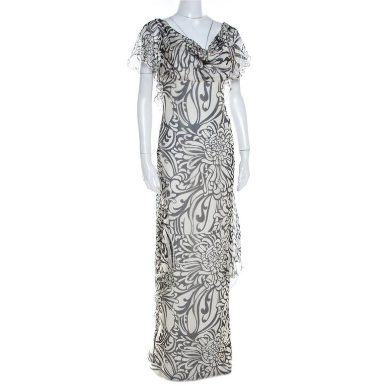 Gray Valentino Monochrome Floral Printed Silk Ruffled Backless Evening Gown M For Sale
