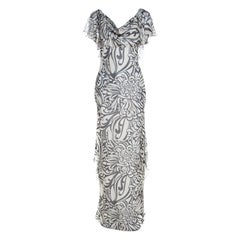 Valentino Monochrome Floral Printed Silk Ruffled Backless Evening Gown M