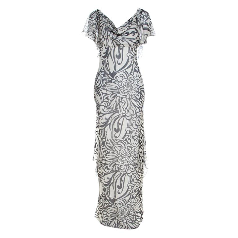 Valentino Monochrome Floral Printed Silk Ruffled Backless Evening Gown M For Sale