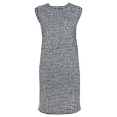 Valentino Monochrome Tweed Studded Sleeveless Shift Dress L