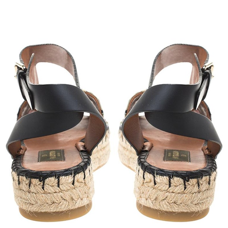 Beige Valentino Multcolor Camubutterfly Lace And Leather Platform Espadrilles Size 38 For Sale