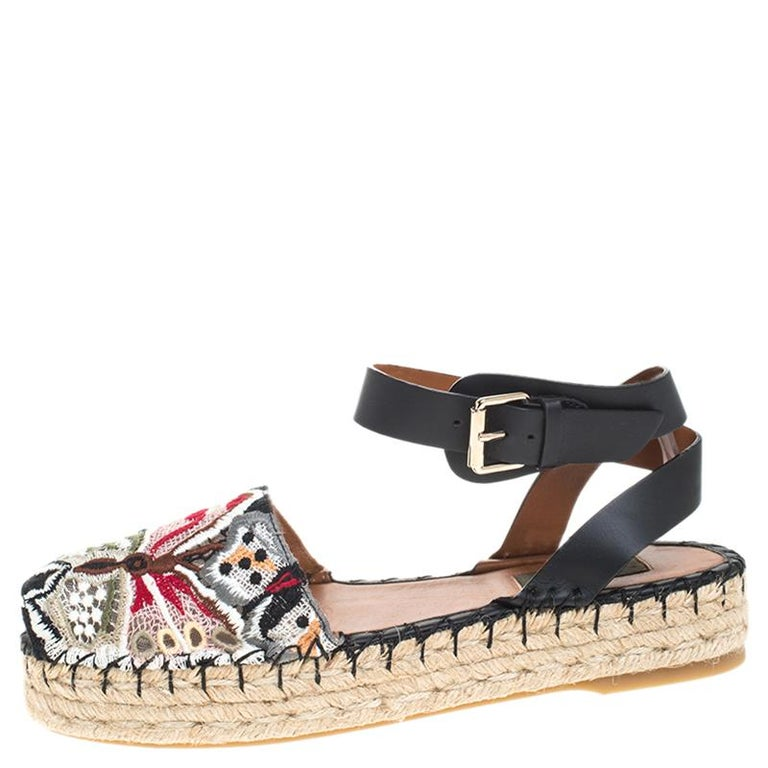 Valentino Multcolor Camubutterfly Lace And Leather Platform Espadrilles Size 38 For Sale 1