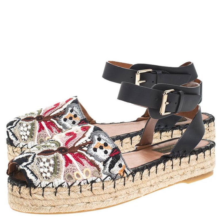 Valentino Multcolor Camubutterfly Lace And Leather Platform Espadrilles Size 38 For Sale 2