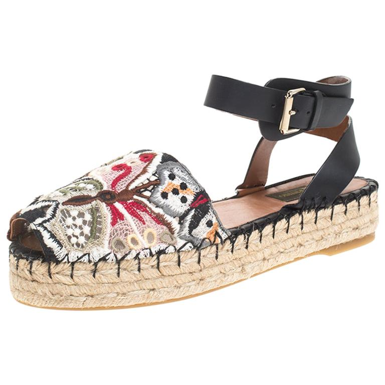 Valentino Multcolor Camubutterfly Lace And Leather Platform Espadrilles Size 38 For Sale