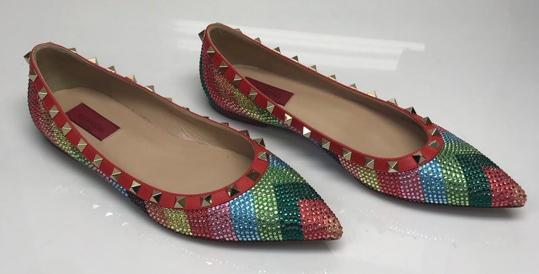 Valentino Multi color iridescent flats w/ studs-39 In Excellent Condition For Sale In Palm Beach, FL