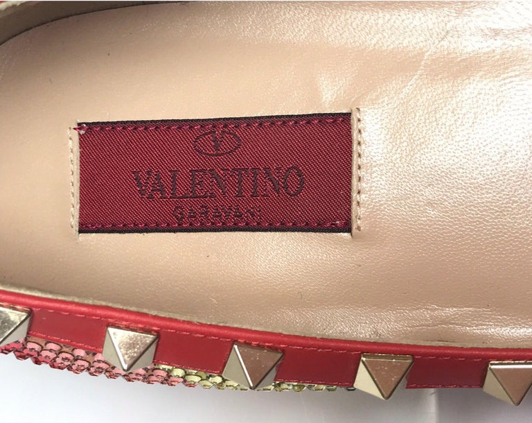 Valentino Multi color iridescent flats w/ studs-39 For Sale 2