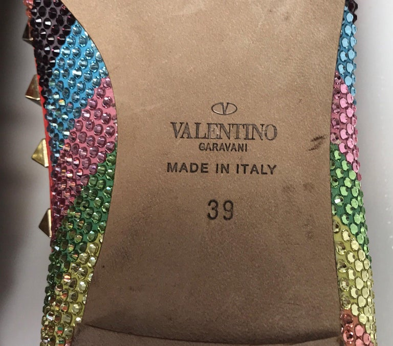 Valentino Multi color iridescent flats w/ studs-39 For Sale 3