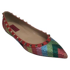 Valentino Multi color iridescent flats w/ studs-39