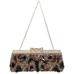 Valentino Multicolor Beaded Fabric Crystal Embellishment Frame Chain Clutch