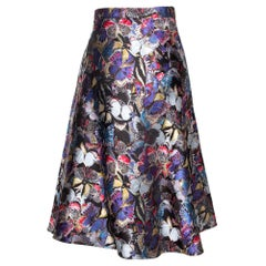 Valentino Multicolor Butterfly Silk Brocade Midi Skirt M