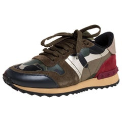 Valentino Multicolor Camouflage Printed Canvas Rockrunner Top Sneakers Size 35