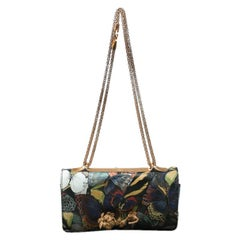 Valentino Multicolor Canvas and Leather Butterfly Mixed Media Shoulder Bag