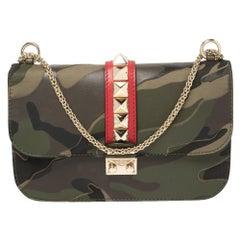 Valentino Multicolor Canvas and Leather Medium Psychedelic Camo Glam Lock Bag