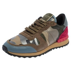 Valentino Multicolor Canvas And Suede Rockrunner Camouflage Sneakers Size 38