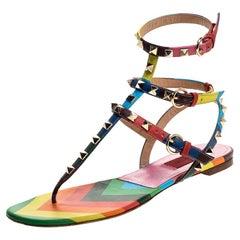 Valentino Multicolor Chevron Print Leather Rockstud Thong Flat Sandals Size 37.5
