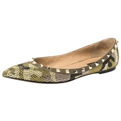 Valentino Multicolor Crystal Embellished Suede Leather Rockstud Pointed Toe Flat