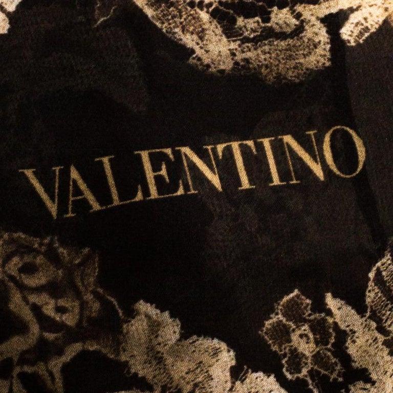 Women's Valentino Multicolor Dégradé Floral Lace Print Silk Scarf For Sale