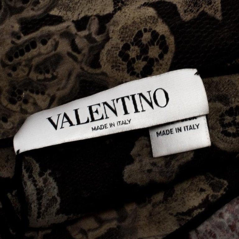 Valentino Multicolor Dégradé Floral Lace Print Silk Scarf For Sale 1
