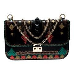Valentino Multicolor Embellished Leather Glam Shoulder Bag