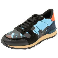 Valentino Multicolor Fabric and Leather Camouflage Rockrunner Sneakers Size 41