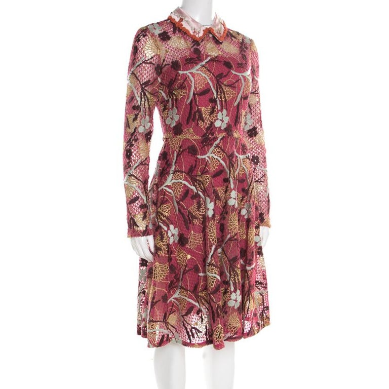 Ditch your everyday standard look and go for a statement-making style with this Valentino dress. Match your accessories to this multicolor dress to attain a classic look. A brilliant blend of the best of fabrics is cut masterfully to make a gem like