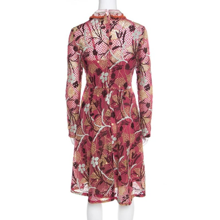 Brown Valentino Multicolor Floral Embroidered Tulle Lurex Detail Long Sleeve Dress S For Sale