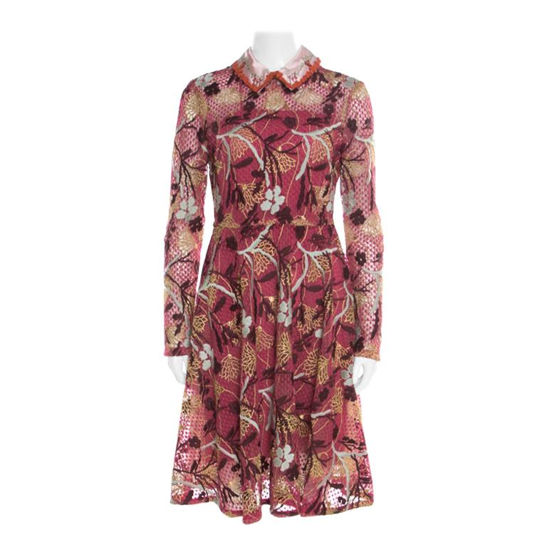 Valentino Multicolor Floral Embroidered Tulle Lurex Detail Long Sleeve Dress S For Sale