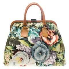 Valentino Multicolor Floral Print Canvas Frame Satchel