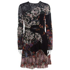 Valentino Multicolor Garden Party Print  Chantilly Lace Paneled Pleated Dress S
