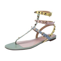 Valentino Multicolor Leather Rockstud Strappy Flat Sandals Size 38