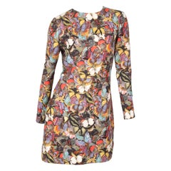 Valentino multicolor long-sleeve butterfly print bambolina formal dress