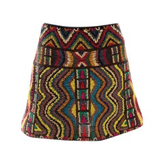 Valentino Multicolor Lurex Embroidered Beaded Mini Skirt S