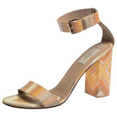 Valentino Multicolor Native Print Leather and Plexiglass Heel Sandals Size 39