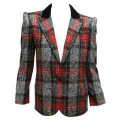 Valentino Multicolor Plaid Tweed Blazer