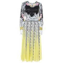 Valentino Multicolor Printed Silk Tulle Embroidered Midi Dress S