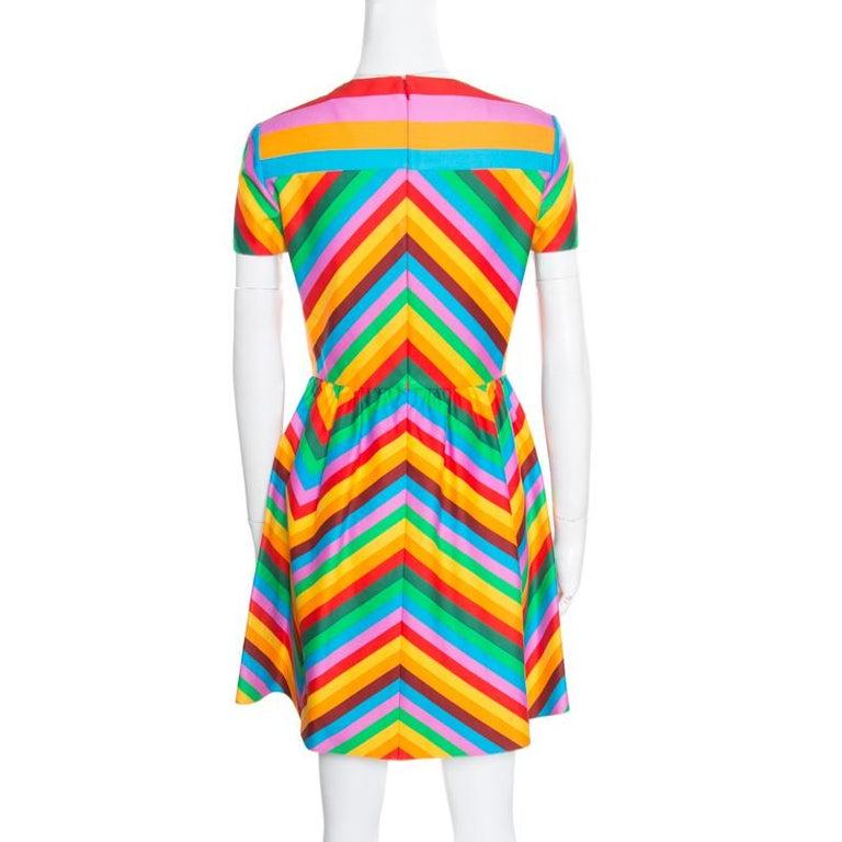 4235088192 Valentino Multicolor Rainbow Chevron Striped Bambolina Dress S For ...