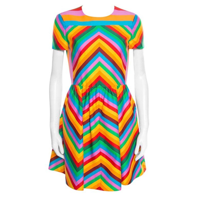 eb9de1a6f0 Valentino Multicolor Rainbow Chevron Striped Bambolina Dress S For Sale at  1stdibs