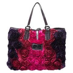 Valentino Multicolor Satin and Patent Leather Petale Rose Tote