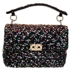 Valentino Multicolor Sequin Medium Rockstud Spike Chain Shoulder Bag