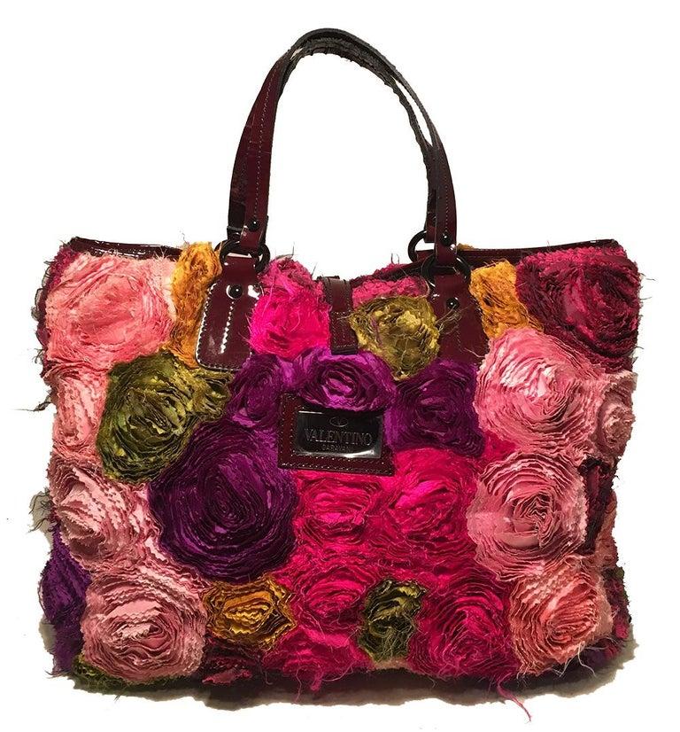 Brown Valentino Multicolor Silk Rosier Rosettes Tote Bag For Sale