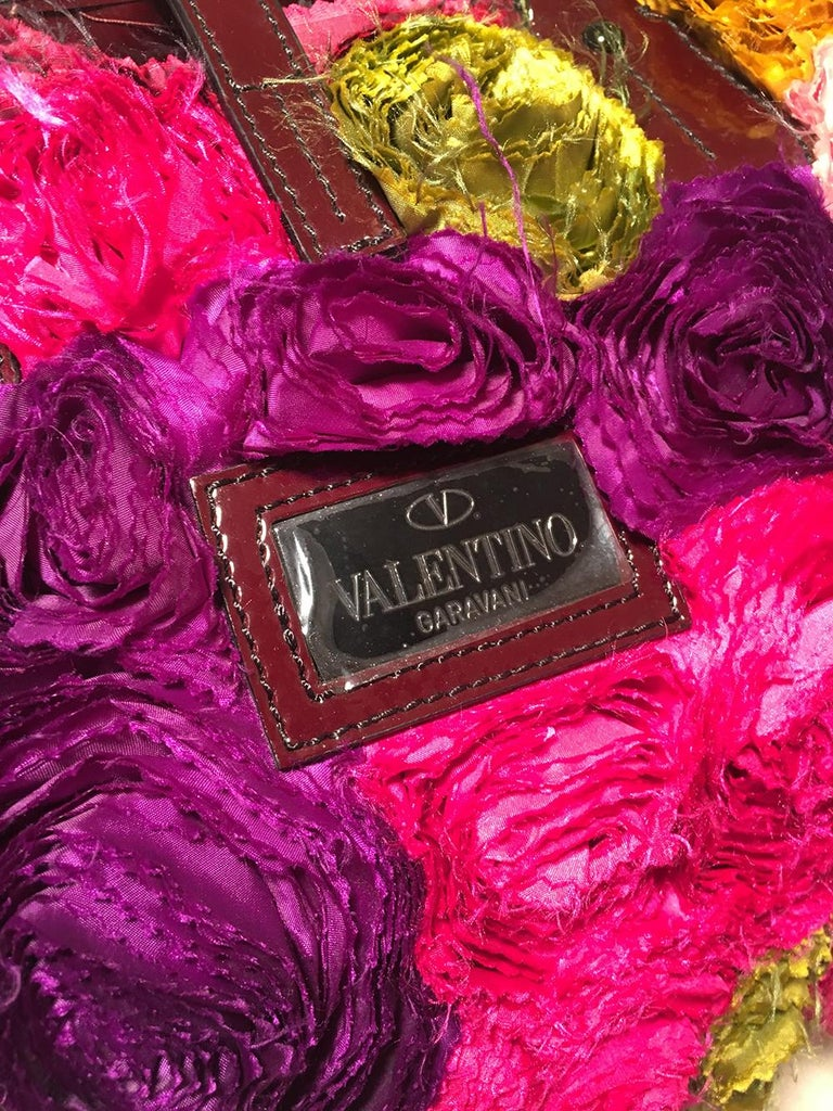 Women's Valentino Multicolor Silk Rosier Rosettes Tote Bag For Sale